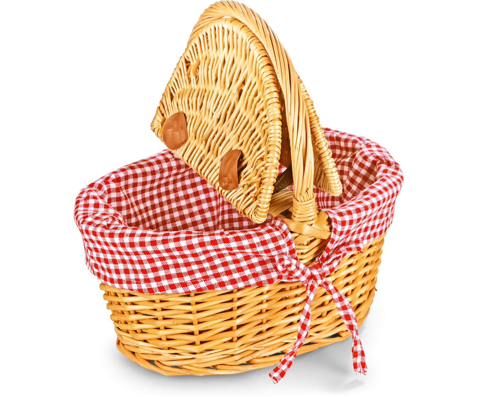 Empty Picnic Basket Twin Hamper Style Lined 12